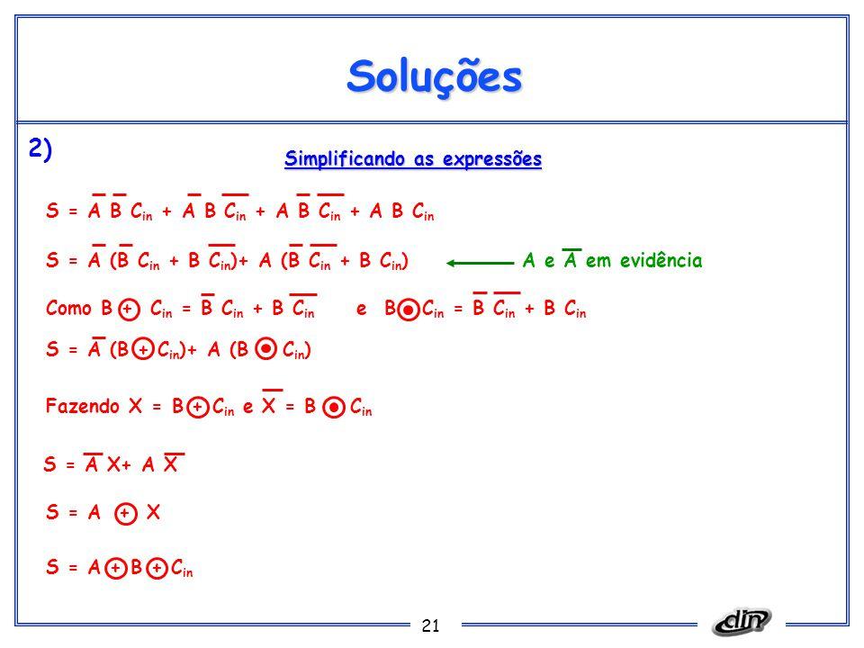 Soluções 2) Simplificando as expressões