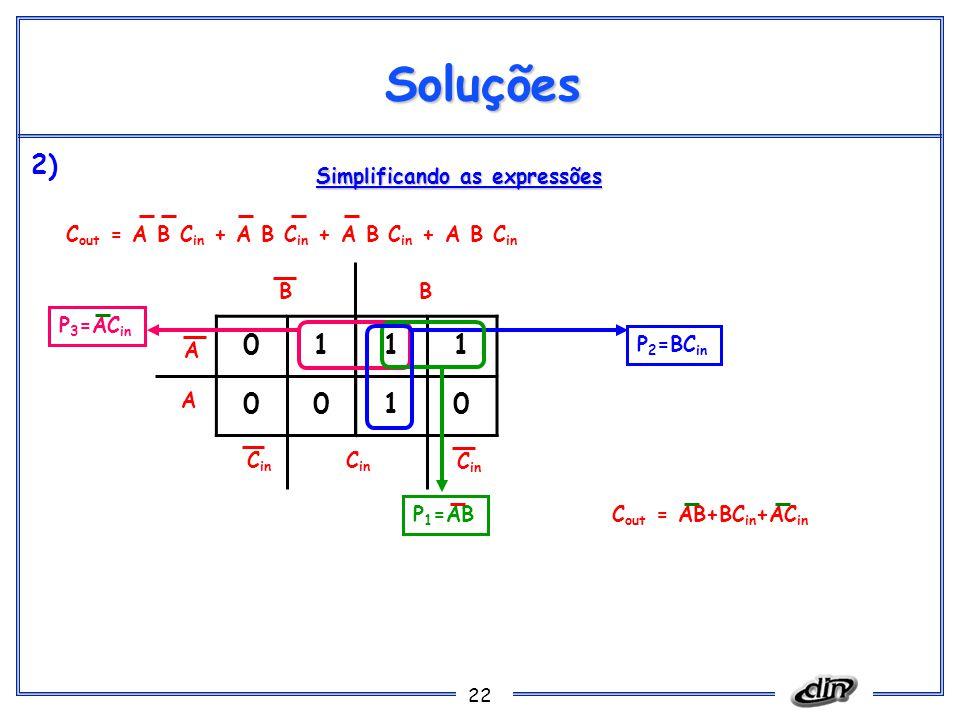 Soluções 2) 1 Simplificando as expressões