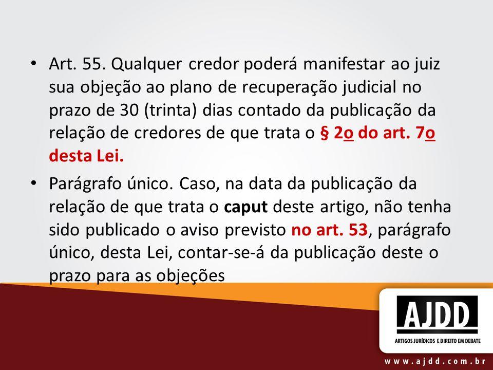Art. 55. Qualquer credor poderá manifestar ao juiz sua objeção ao plano de recuperação judicial no prazo de 30 (trinta) dias contado da publicação da relação de credores de que trata o § 2o do art. 7o desta Lei.