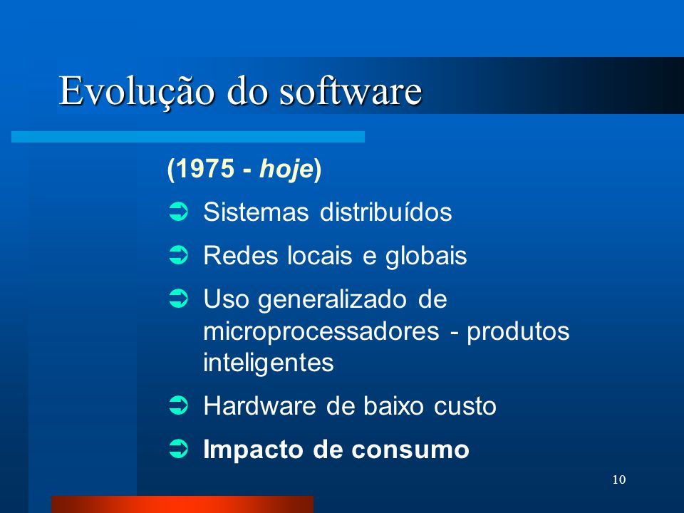 Evolução do software (1975 - hoje) Sistemas distribuídos