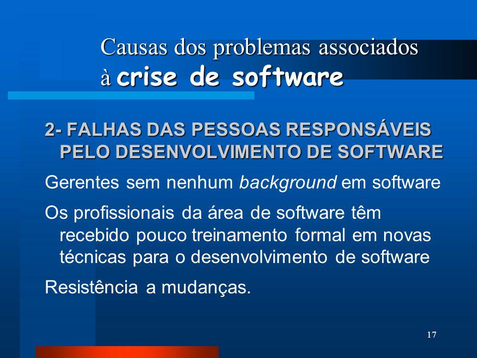 Causas dos problemas associados à crise de software