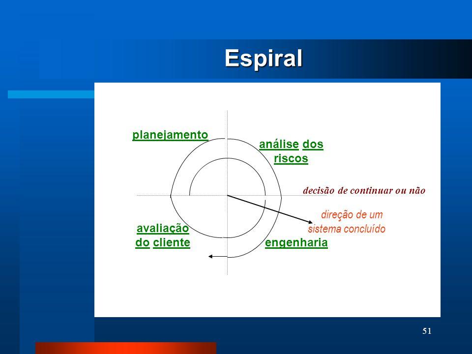 Espiral planejamento análise dos riscos