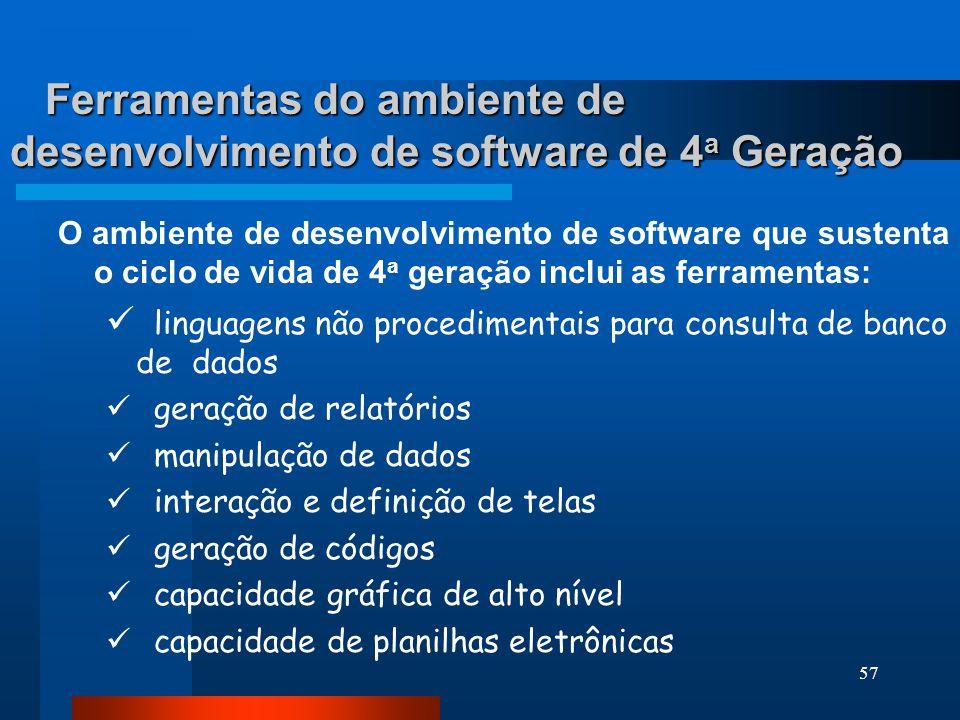 Ferramentas do ambiente de desenvolvimento de software de 4a Geração