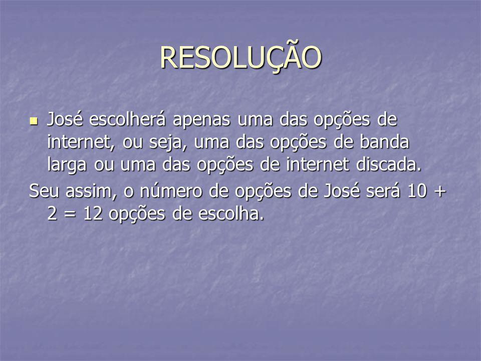 RESOLUÇÃO José escolherá apenas uma das opções de internet, ou seja, uma das opções de banda larga ou uma das opções de internet discada.