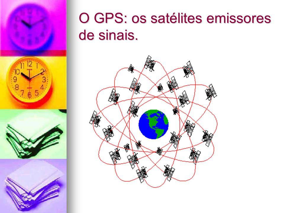 O GPS: os satélites emissores de sinais.