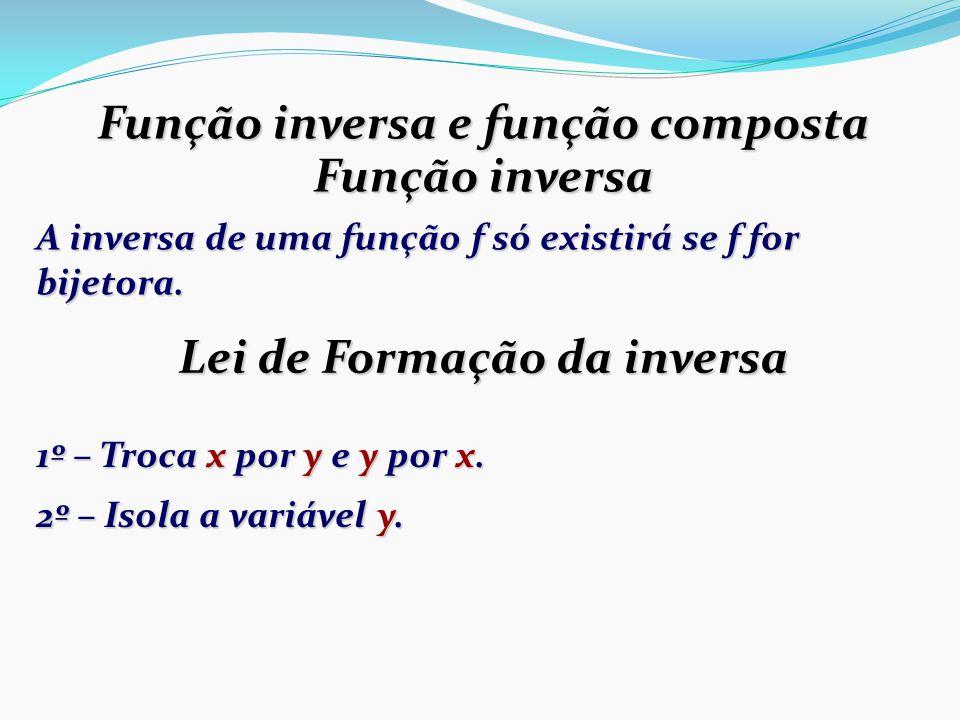 Função inversa e função composta Lei de Formação da inversa