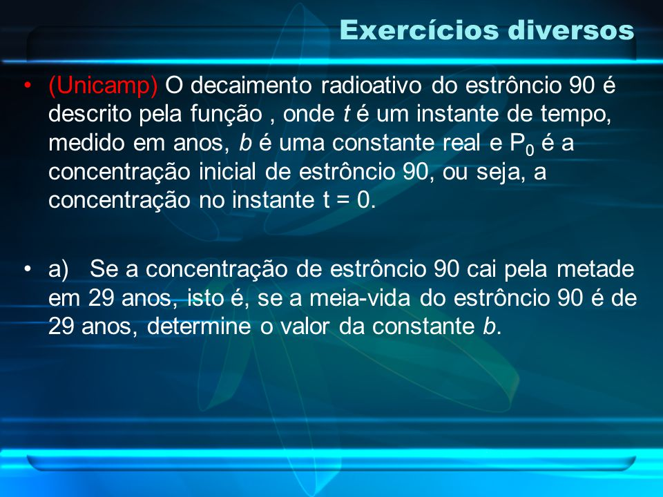 Exercícios diversos