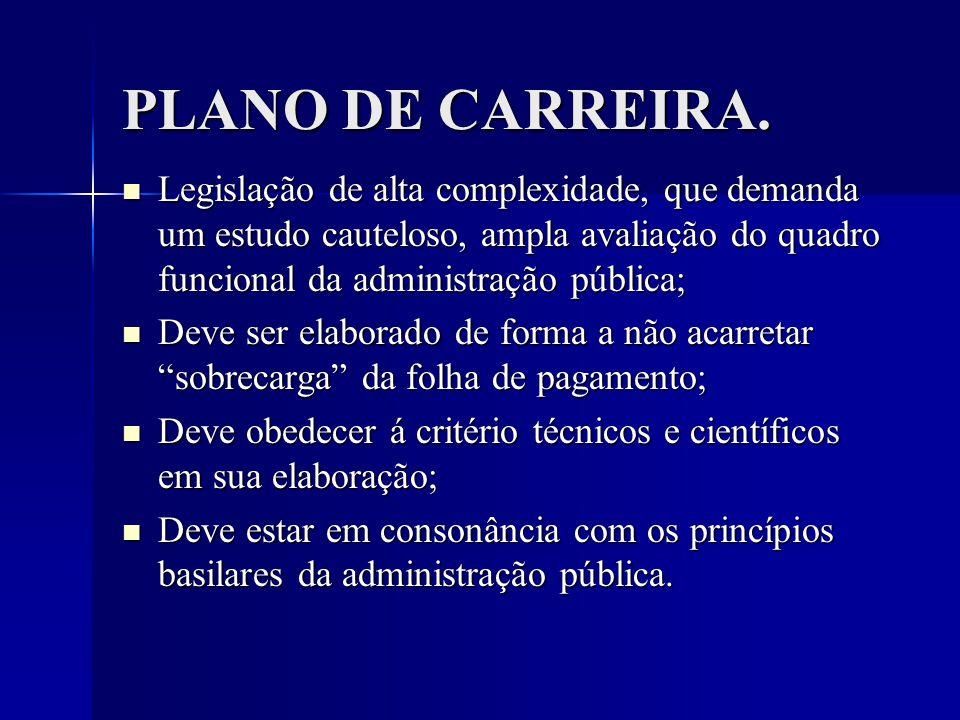 PLANO DE CARREIRA. Legislação de alta complexidade, que demanda um estudo cauteloso, ampla avaliação do quadro funcional da administração pública;