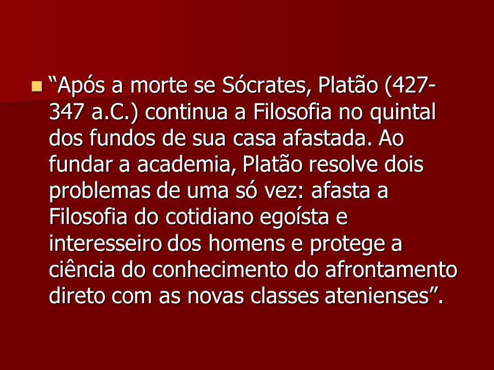 Após a morte se Sócrates, Platão (427-347 a. C