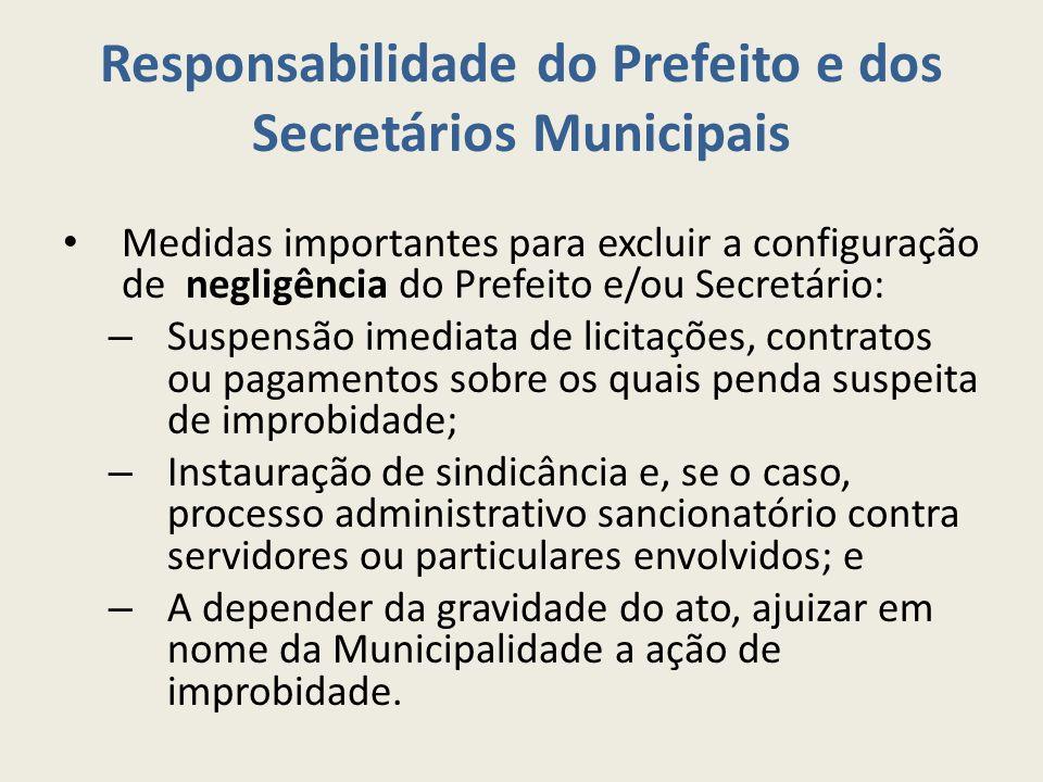 Responsabilidade do Prefeito e dos Secretários Municipais