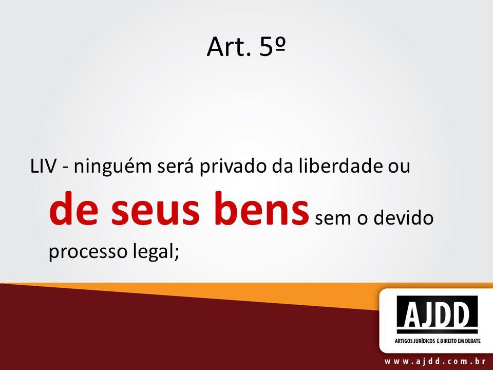 Art. 5º LIV - ninguém será privado da liberdade ou de seus bens sem o devido processo legal;
