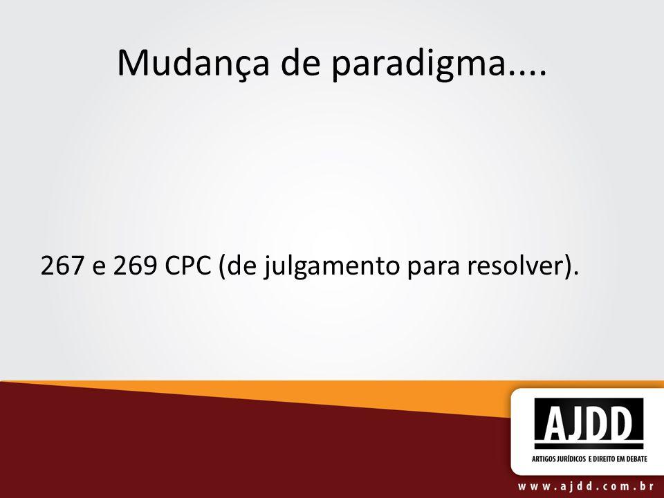 Mudança de paradigma.... 267 e 269 CPC (de julgamento para resolver).
