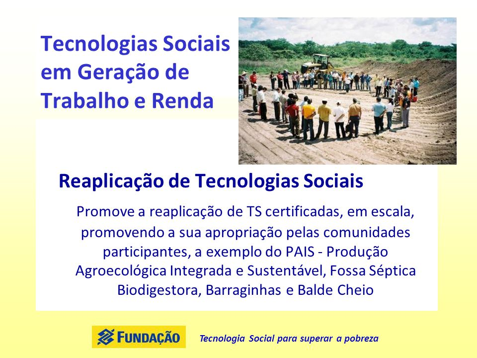 Tecnologias Sociais em Geração de Trabalho e Renda