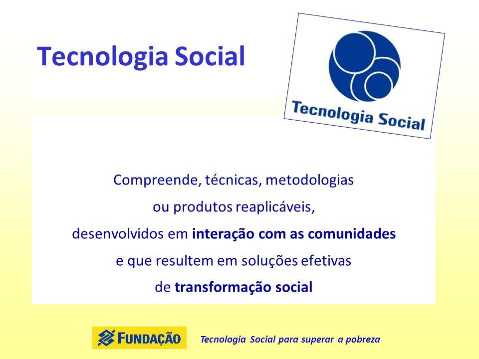 Tecnologia Social Compreende, técnicas, metodologias