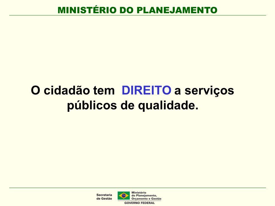 O cidadão tem DIREITO a serviços públicos de qualidade.