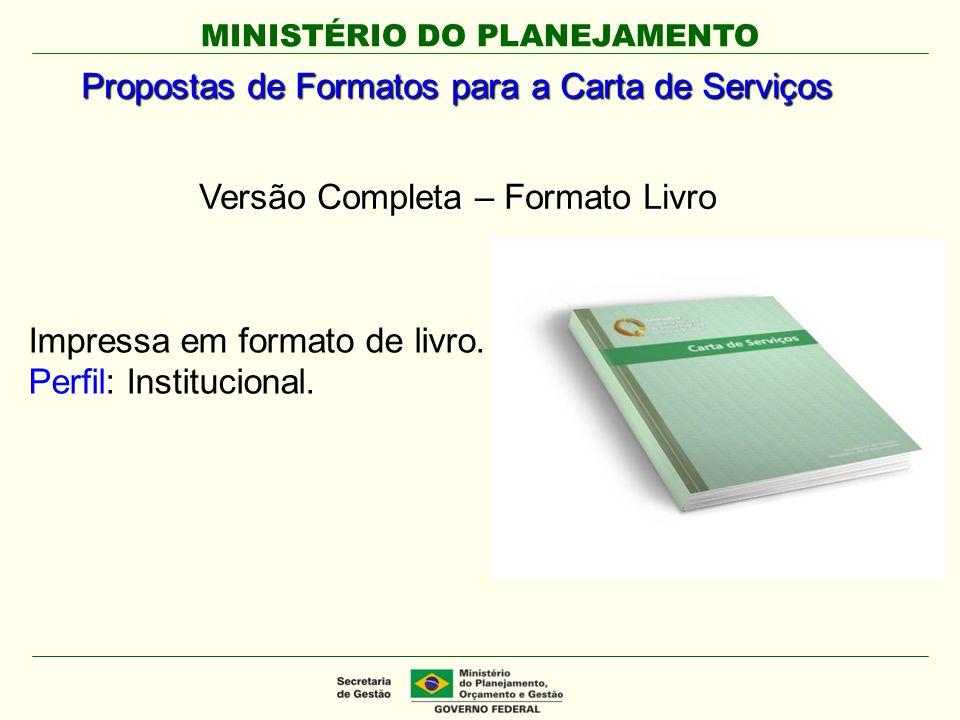 Propostas de Formatos para a Carta de Serviços