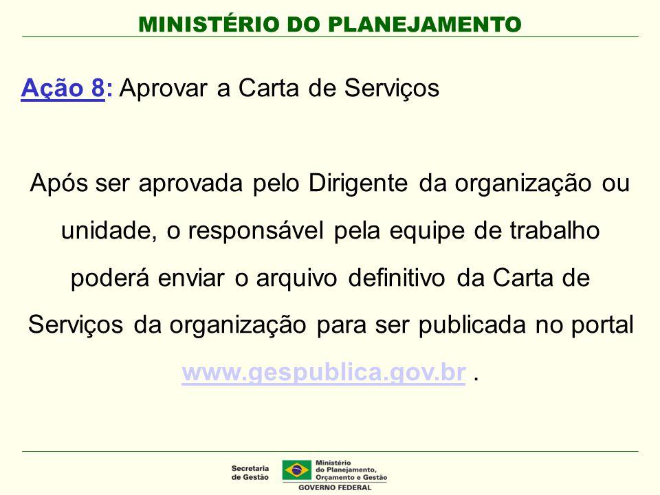 Ação 8: Aprovar a Carta de Serviços