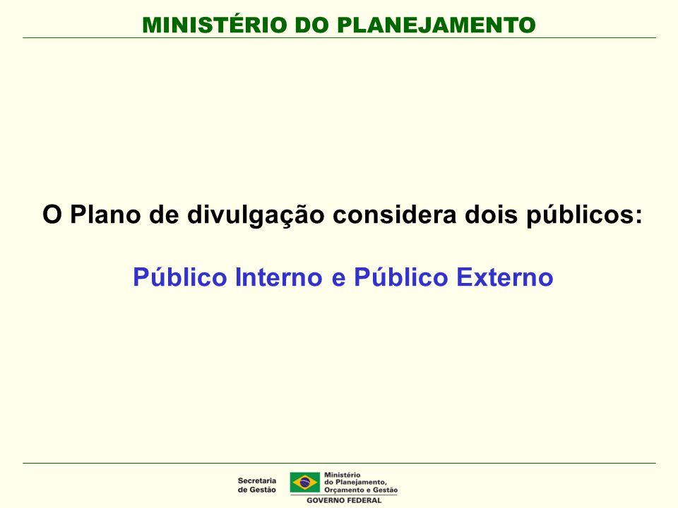 O Plano de divulgação considera dois públicos: