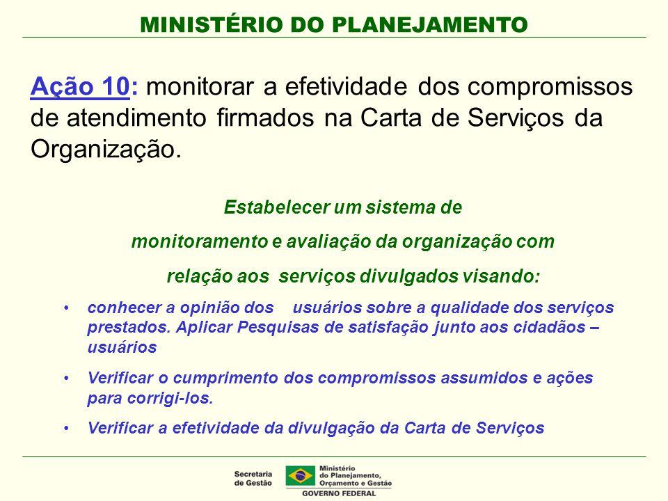 Ação 10: monitorar a efetividade dos compromissos de atendimento firmados na Carta de Serviços da Organização.