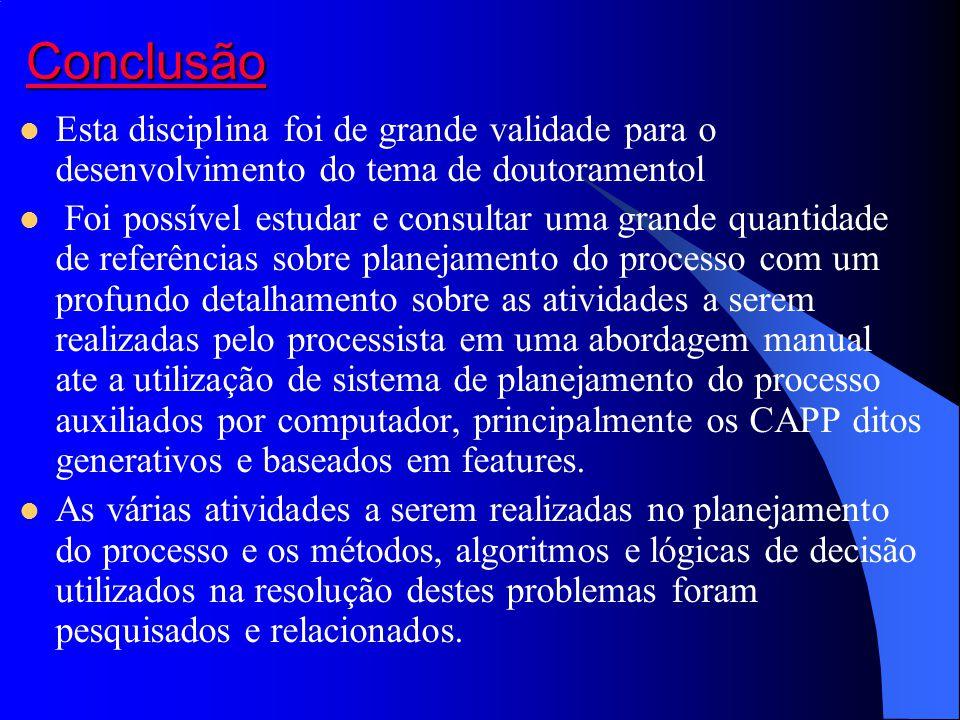 Conclusão Esta disciplina foi de grande validade para o desenvolvimento do tema de doutoramentol.