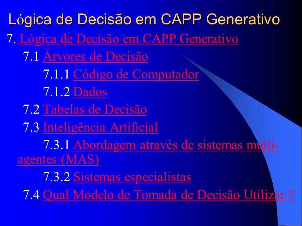 Lógica de Decisão em CAPP Generativo