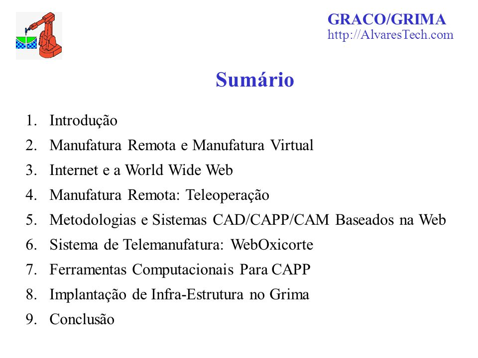 Sumário GRACO/GRIMA Introdução Manufatura Remota e Manufatura Virtual