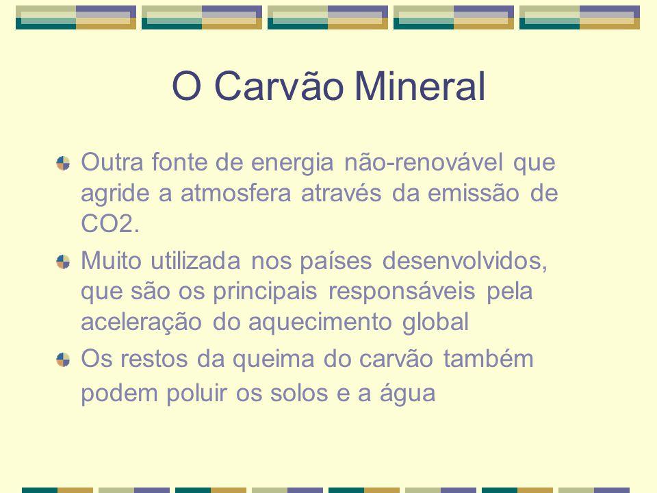 O Carvão Mineral Outra fonte de energia não-renovável que agride a atmosfera através da emissão de CO2.