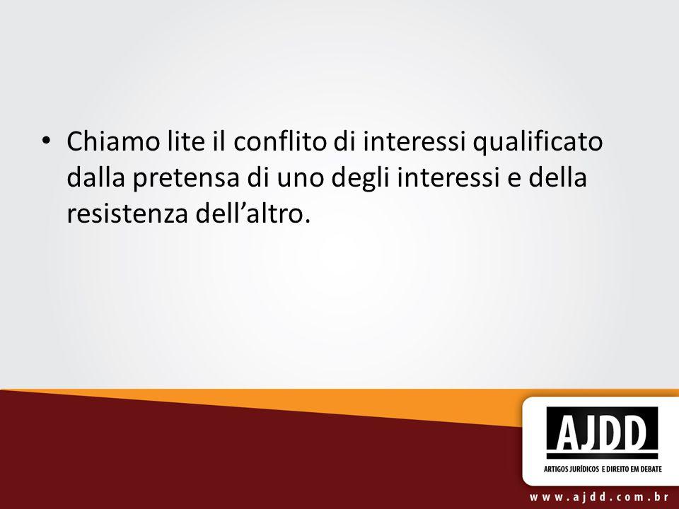 Chiamo lite il conflito di interessi qualificato dalla pretensa di uno degli interessi e della resistenza dell'altro.