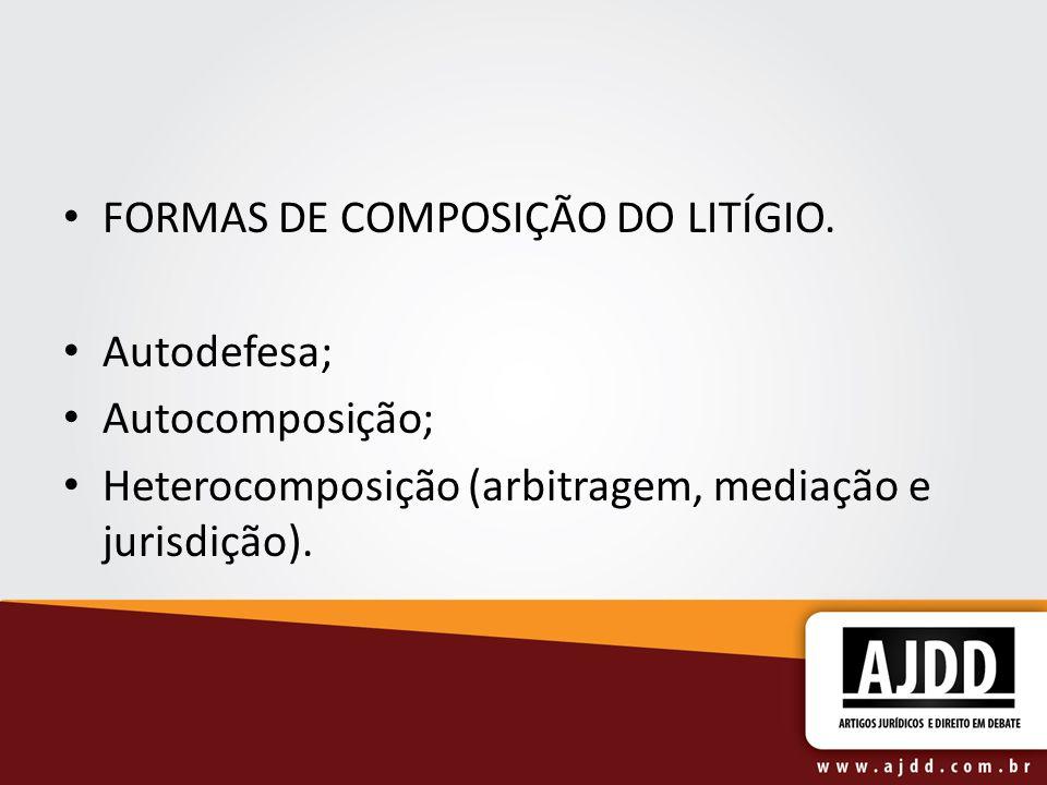 FORMAS DE COMPOSIÇÃO DO LITÍGIO.