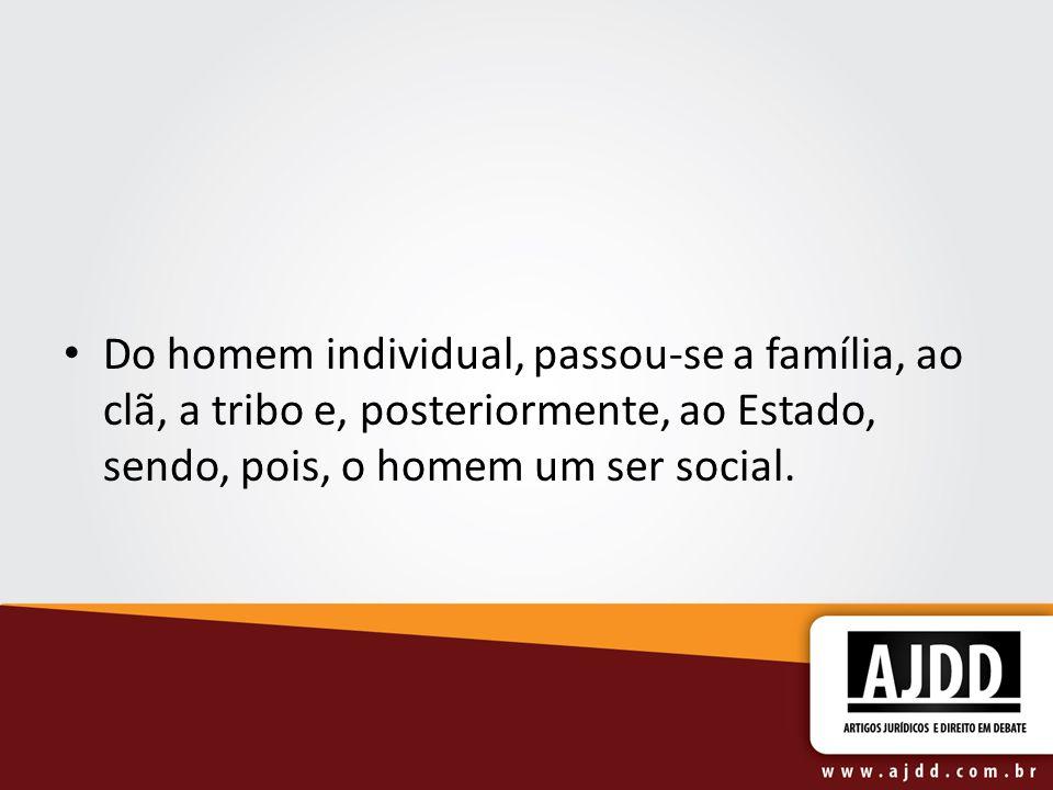 Do homem individual, passou-se a família, ao clã, a tribo e, posteriormente, ao Estado, sendo, pois, o homem um ser social.
