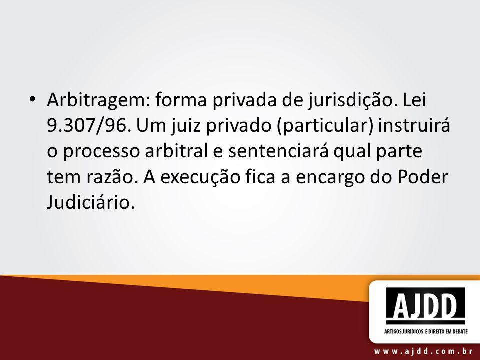 Arbitragem: forma privada de jurisdição. Lei 9. 307/96