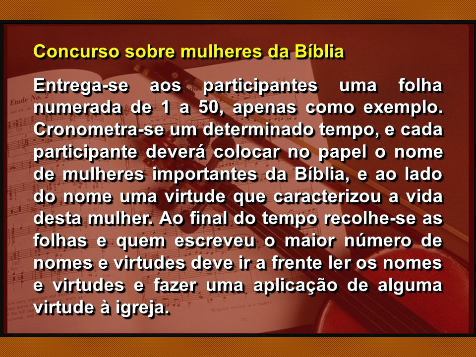 Concurso sobre mulheres da Bíblia