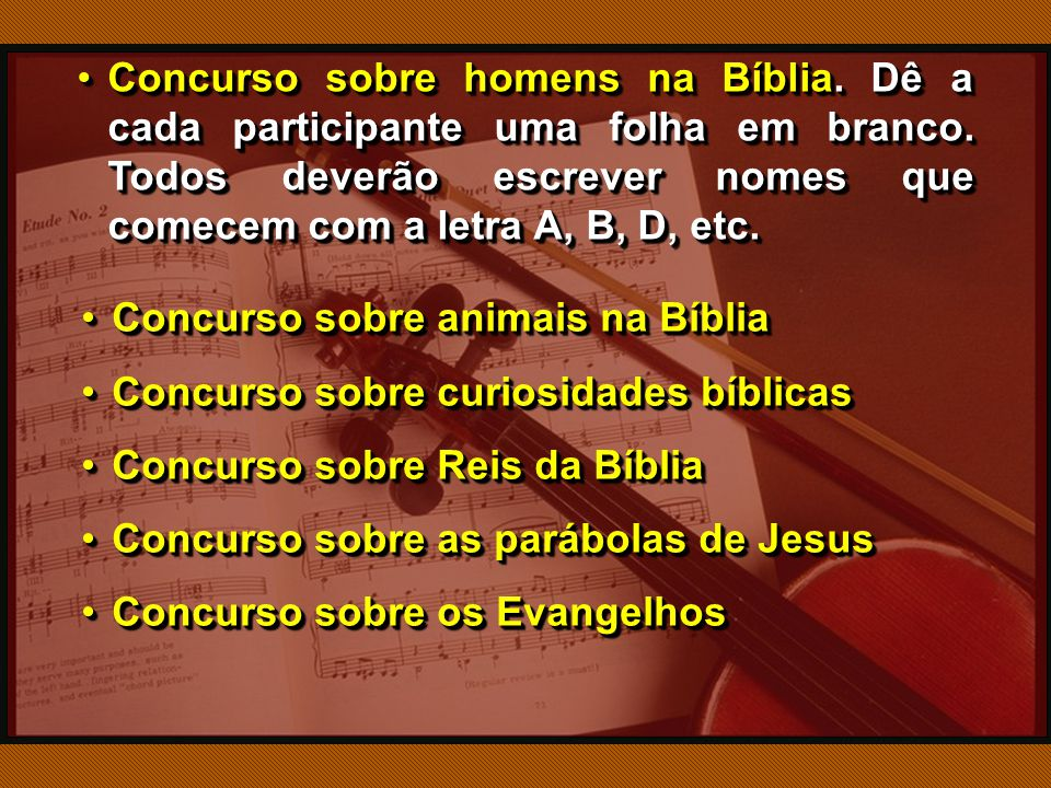 Concurso sobre homens na Bíblia