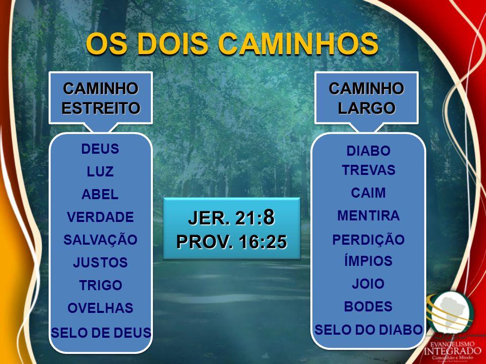 OS DOIS CAMINHOS JER. 21:8 PROV. 16:25 CAMINHO ESTREITO CAMINHO LARGO