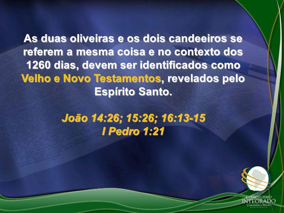 As duas oliveiras e os dois candeeiros se referem a mesma coisa e no contexto dos 1260 dias, devem ser identificados como Velho e Novo Testamentos, revelados pelo Espírito Santo.