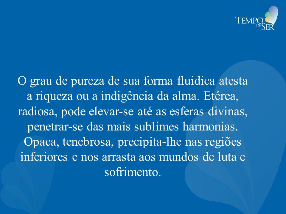 O grau de pureza de sua forma fluidica atesta a riqueza ou a indigência da alma.