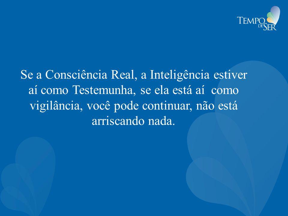 Se a Consciência Real, a Inteligência estiver aí como Testemunha, se ela está aí como vigilância, você pode continuar, não está arriscando nada.