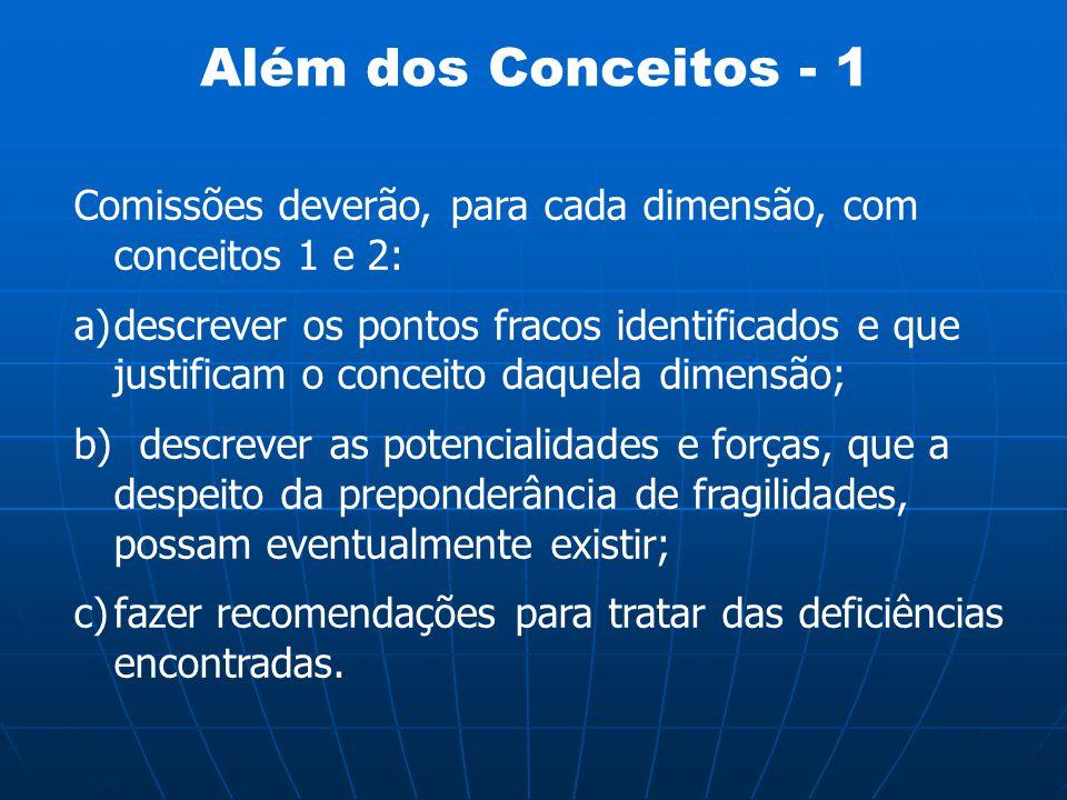 Além dos Conceitos - 1 Comissões deverão, para cada dimensão, com conceitos 1 e 2: