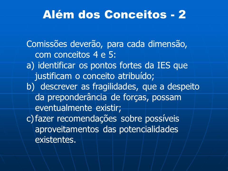 Além dos Conceitos - 2 Comissões deverão, para cada dimensão, com conceitos 4 e 5: