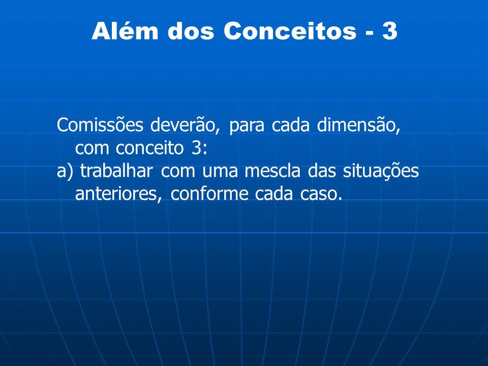 Além dos Conceitos - 3 Comissões deverão, para cada dimensão, com conceito 3: