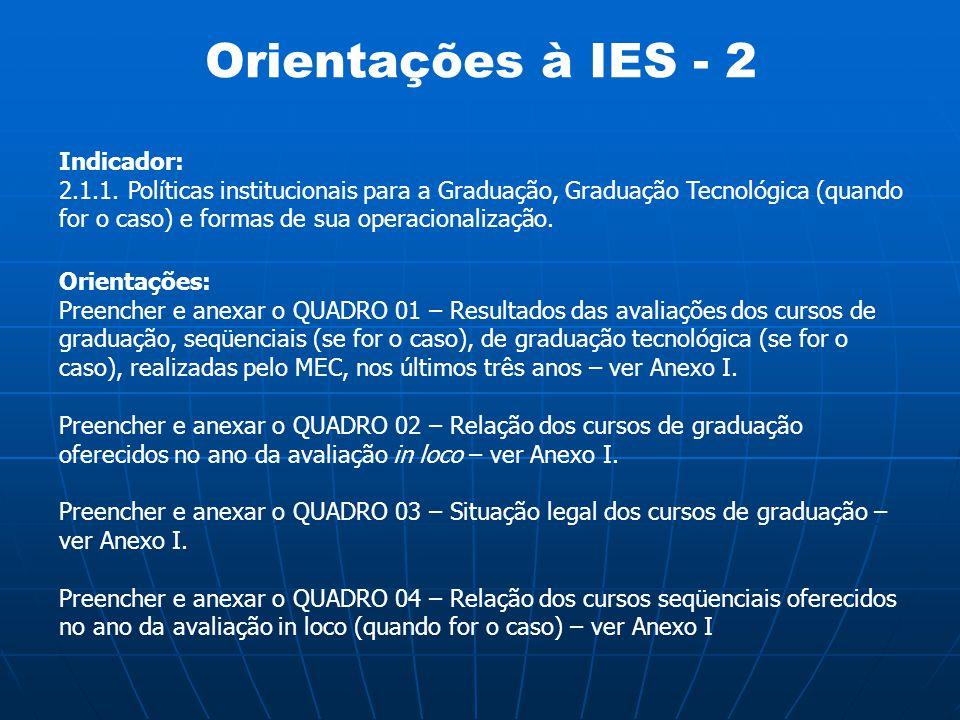 Orientações à IES - 2 Indicador: