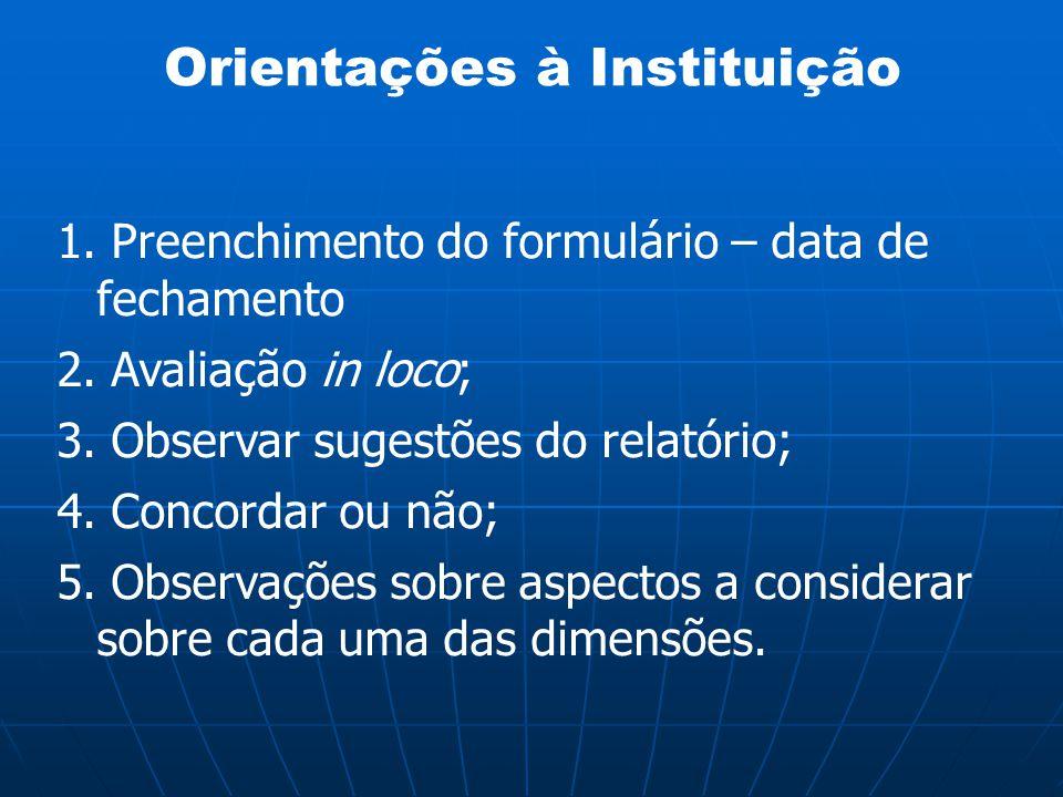 Orientações à Instituição