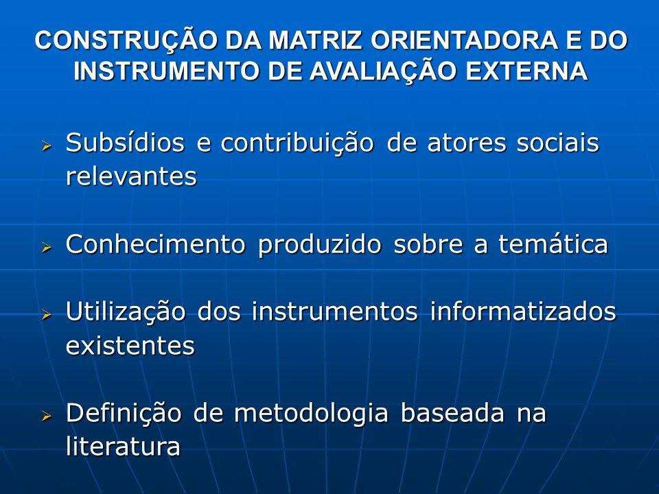 CONSTRUÇÃO DA MATRIZ ORIENTADORA E DO INSTRUMENTO DE AVALIAÇÃO EXTERNA