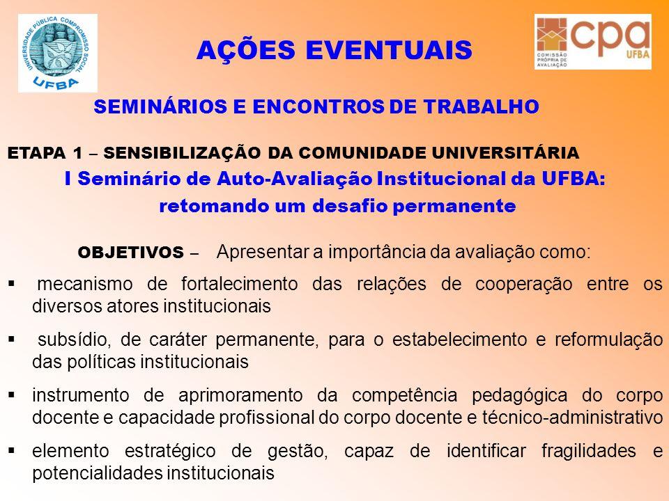 AÇÕES EVENTUAIS SEMINÁRIOS E ENCONTROS DE TRABALHO