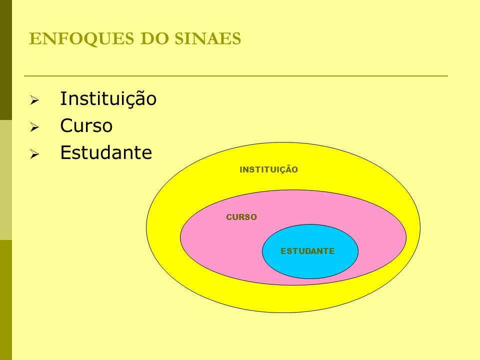ENFOQUES DO SINAES Instituição Curso Estudante INSTITUIÇÃO CURSO