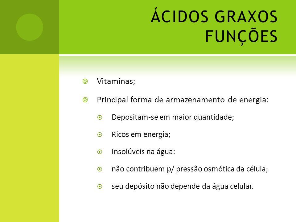 ÁCIDOS GRAXOS FUNÇÕES Vitaminas;