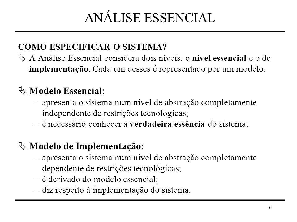 ANÁLISE ESSENCIAL Modelo Essencial: Modelo de Implementação: