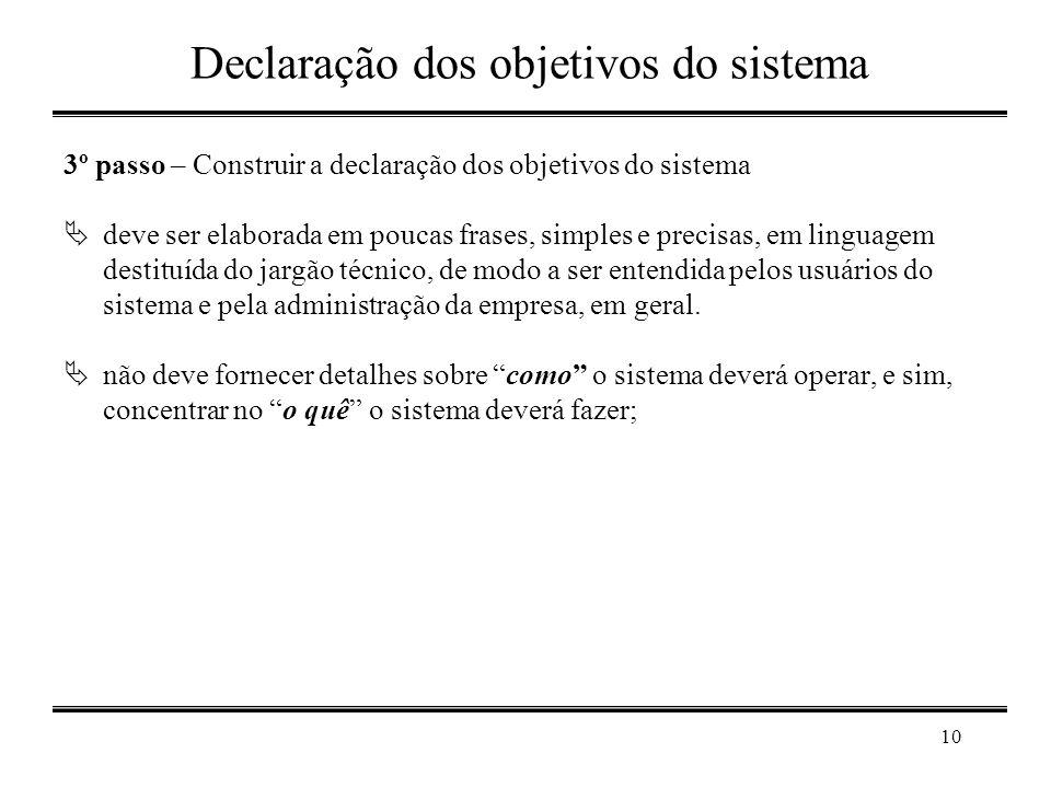 Declaração dos objetivos do sistema