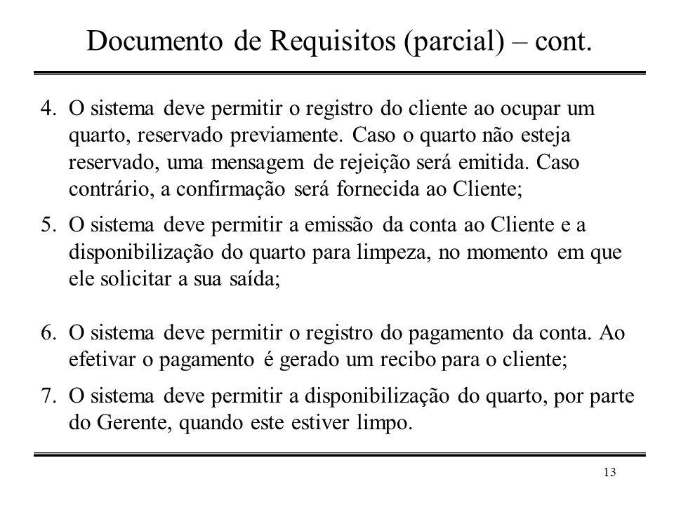 Documento de Requisitos (parcial) – cont.