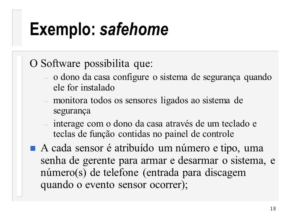 Exemplo: safehome O Software possibilita que: